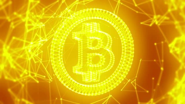 Bitcoin with connections golden loopable background video