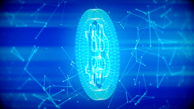 Bitcoin with connections loopable blue background video