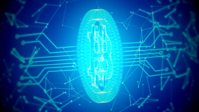 Bitcoin with connections loopable blue background with circuit board video