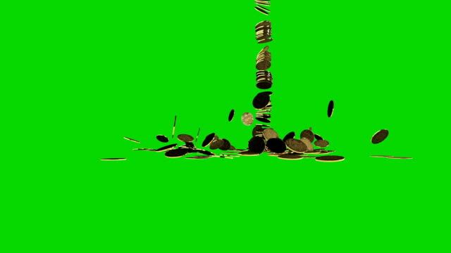 Bitcoins falling with Gold Text hitting them with Green Screen