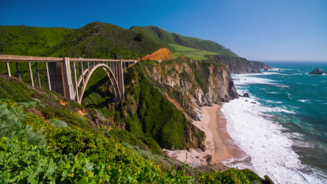 Bixby Bridge at Big Sur Coastline, California, USA video