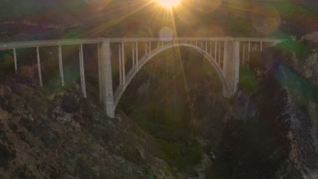Bixby Bridge Big Sur California Aerial Pull Back video