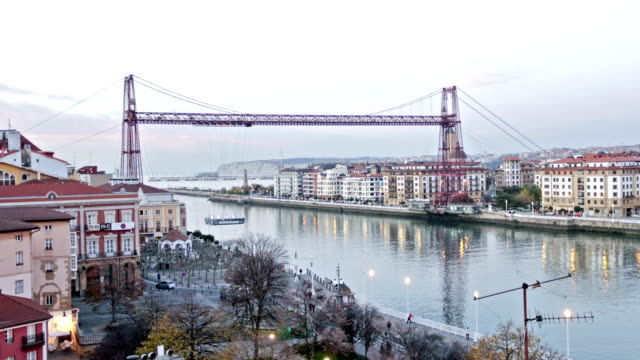 bizkaia bridge at night, biscay, basque country, spain. - rivoluzione industriale video stock e b–roll