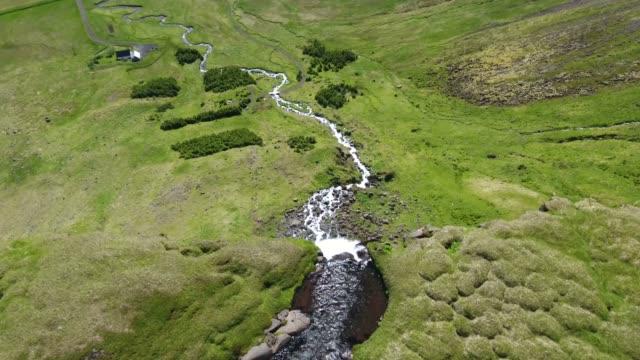 Bjarnarfoss - waterfall in Iceland - drone view video