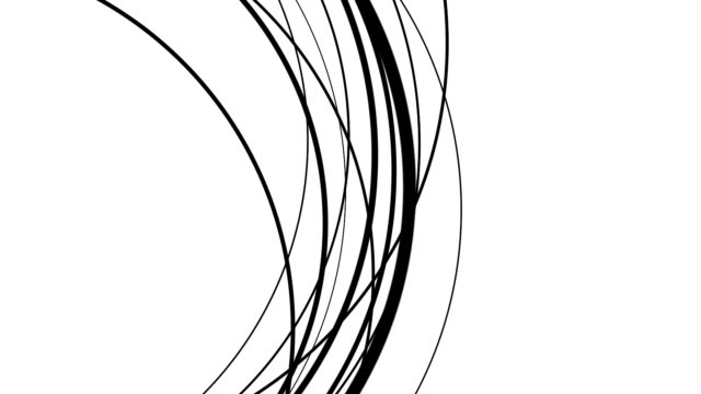 Black abstract arcs undulating over white video
