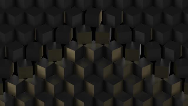 sfondo tecnologico astratto nero con cubi - elemento del design video stock e b–roll