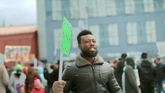 Black afro american people blank banner. Evil wave hand 4k.