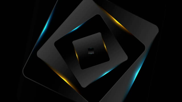 Black and glowing blue orange squares motion background