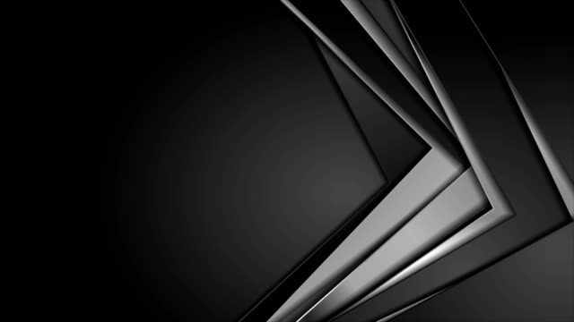 black and silver metallic stripes abstract corporate motion background - metallizzato video stock e b–roll