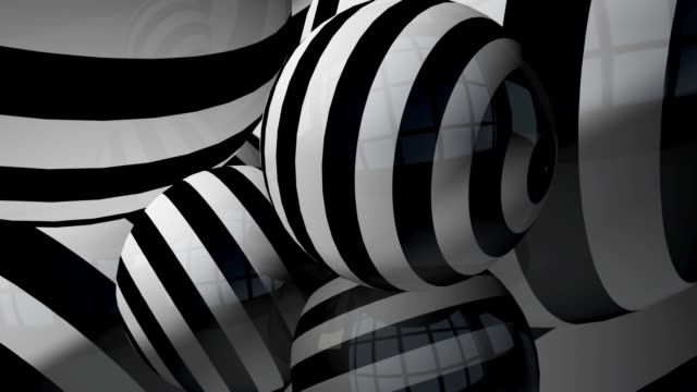 black and white 3d  striped balls infinite loop abstract background concept - black and white architecture stock videos & royalty-free footage