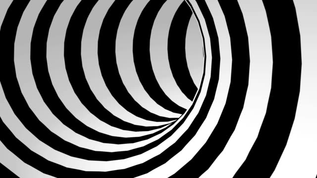 black and white abstract tunnel loop - infinito video stock e b–roll