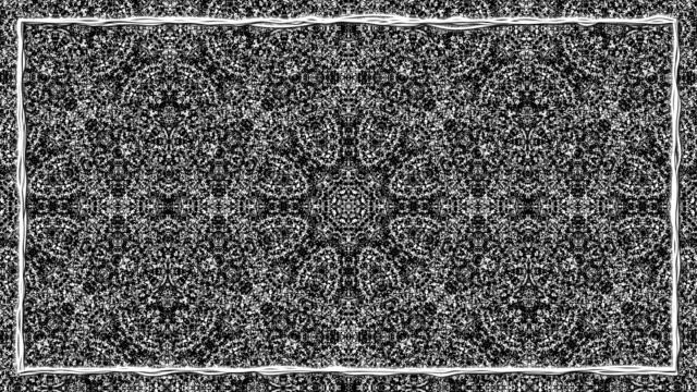 siyah ve beyaz siyah kenarlık çerçevesi ile tekstüre süsleme animasyon - süslü püslü stok videoları ve detay görüntü çekimi