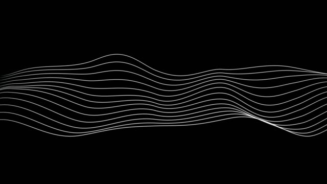 Black and white audio frequency sound waves and curves