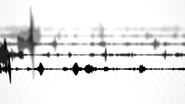 a black and white audio waveform spectrum visualization effect with multiple blurred tracks and dotted grid background - attrezzatura per la musica video stock e b–roll