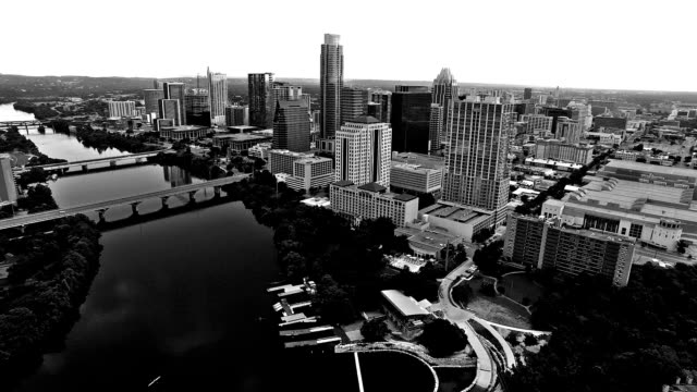 Black and white Austin, TX Aerial of the Capital city of Texas video