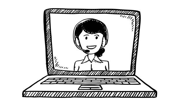 vídeos de stock, filmes e b-roll de animação estilo desenho animado preto e branco, de mulher de suporte ao atendimento ao cliente, que aparece na tela do notebook. - costumer
