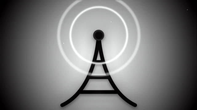 Black and White Communication Tower Icon Animation Loop video