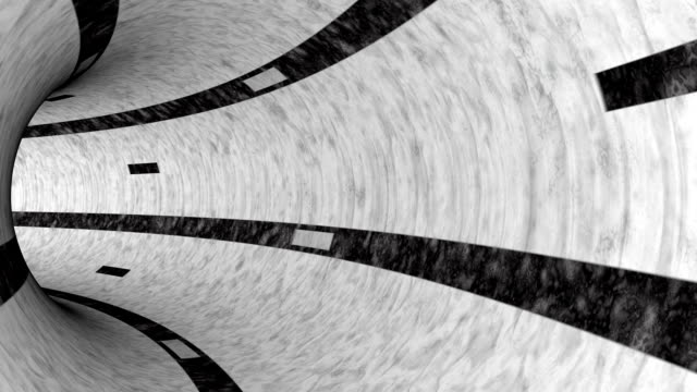 black and white concrete tunnel animation LOOP-READY video