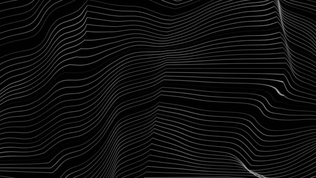 Video Black and white curved refracted 3d geometric lines tech motion background