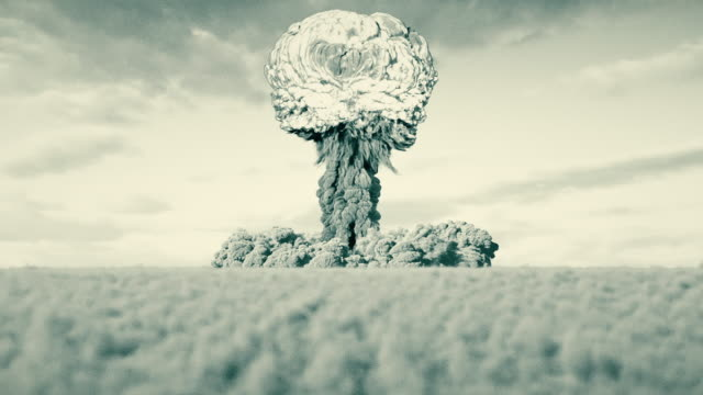 Black and white film look nuclear bomb test