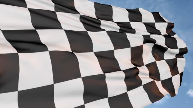 vídeos de stock, filmes e b-roll de bandeira de acabamento preto e branco - insígnia