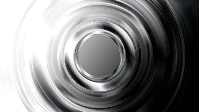 Black and white glossy metallic circles video animation