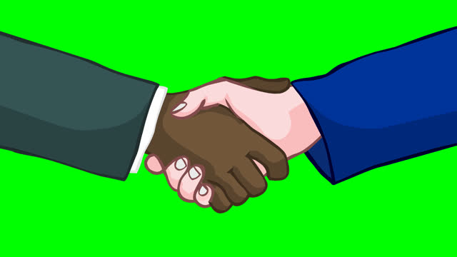 vídeos de stock e filmes b-roll de black and white hands shake hands, loop animation. agreement, contract, handshake, peace. afro american and white human deal. clasp. icon, symbol, deal footage. green screen background 2d animation. - democracy illustration