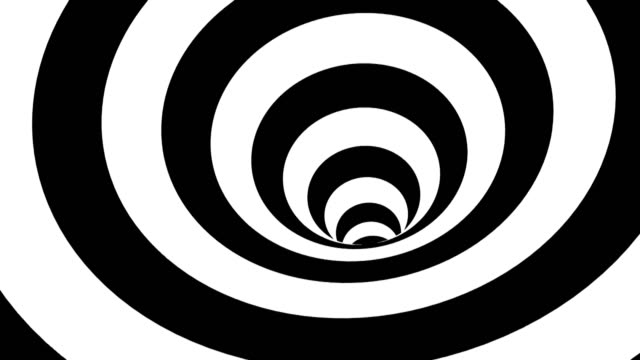 black and white hypnotic spiral. abstract bckground - infinito video stock e b–roll