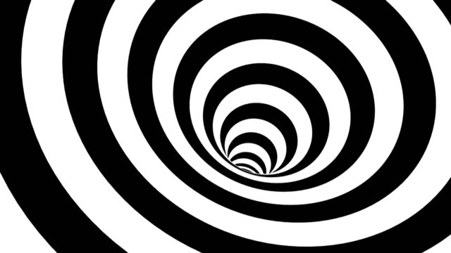 black and white hypnotic spiral. abstract bckground - ripetizione video stock e b–roll