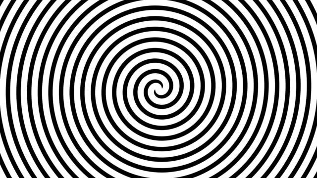 black and white hypnotic spiral illusion background, 4k video - оптический инструмент стоковые видео и кадры b-roll