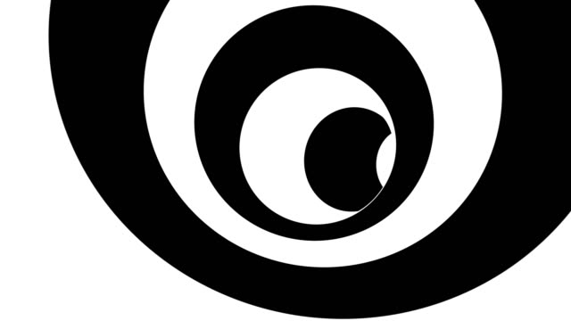 Black and white hypnotic spiral video