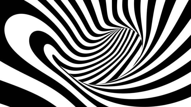 4k. black and white hypnotic stripes in motion. seamless looping. - infinito video stock e b–roll