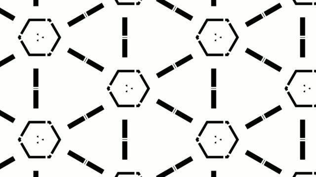 vídeos de stock, filmes e b-roll de padrão de forma hexágono caleidoscópio preto e branco - caleidoscópio padrão