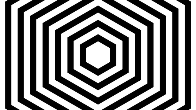 Black and white lined squares rotating around hexagon video