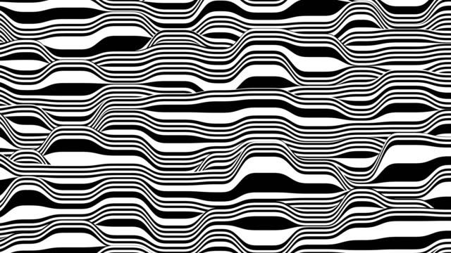 vídeos de stock e filmes b-roll de black and white lines horizontal motion background. computer generated loop animation. 3d rendering. - padrão repetido