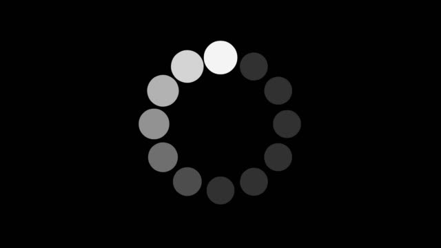 black and white loading and buffering indicator on dark background screen animation - загружать стоковые видео и кадры b-roll