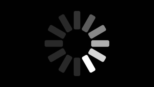 black and white loading indicator on dark background screen animation - загружать стоковые видео и кадры b-roll