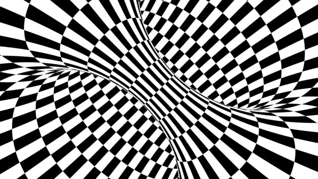 illusione ottica psichedelica in bianco e nero. sfondo animato ipnotico astratto. carta da parati ad anello geometrico a scacchi - illusione video stock e b–roll