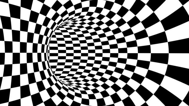 schwarz und weiß psychedelische optische täuschung. abstrakter hypnotischer animierter hintergrund. karierte geometrische looping tapete - karo stock-videos und b-roll-filmmaterial