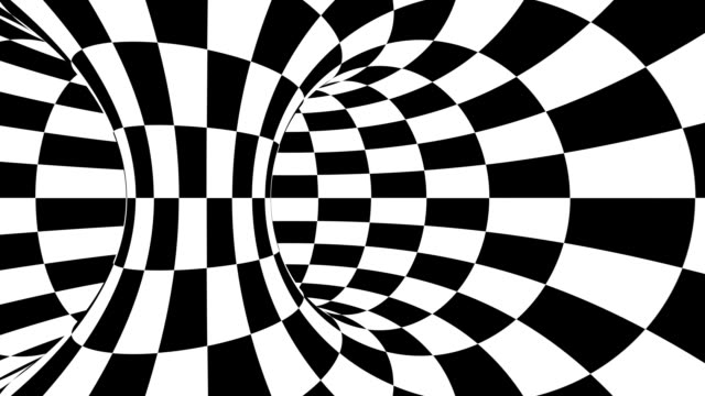 Black and white psychedelic optical illusion. Abstract hypnotic animated background. Checkered geometric looping wallpaper