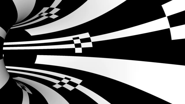 black and white striped tunnel animation video