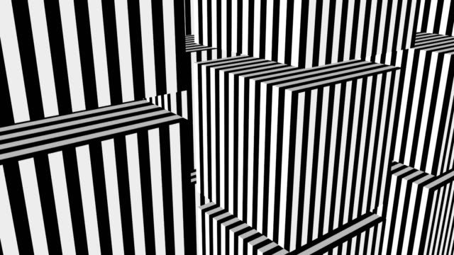 Black and white stripes formation cubes Black and white stripes formation cubes. Seamless loop illusion stock videos & royalty-free footage