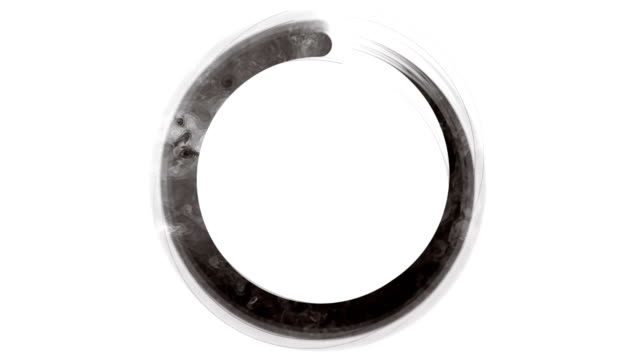 schwarz-weiß-zen-enso-symbol - meditation icon stock-videos und b-roll-filmmaterial
