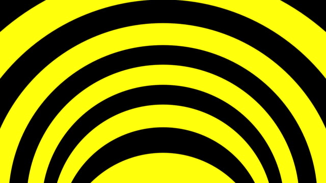 Black and yellow psychedelic optical illusion. Abstract hypnotic animated background. Spiral geometric looping warning wallpaper