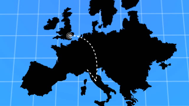 black animated travel and business trip infographic on white europe