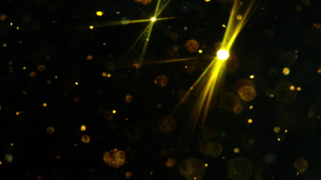 Black background Abstract Golden snow glitter sparkling video