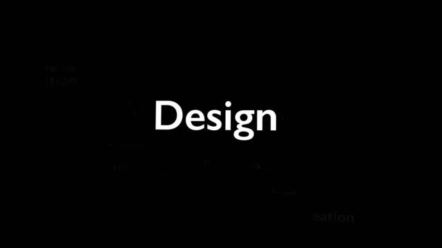 vidéos et rushes de fond noir avec différents mots, qui traitent de la conception. rapprocher. copier l'espace. 3d. animatiom. 4k. - book