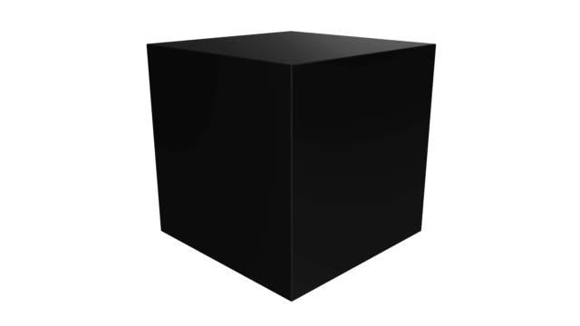 svart låda isolerad på vit bakgrund. transportkoncept. - kub bildbanksvideor och videomaterial från bakom kulisserna