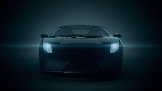 Black car front view 3d render on black background