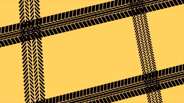 black car tracks on yellow background video animation hd 1080 - wheel black background bildbanksvideor och videomaterial från bakom kulisserna